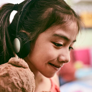Girl With Headphones In