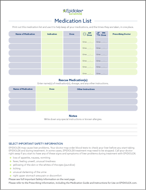 Downloadable Tool: Medication List Cover Page