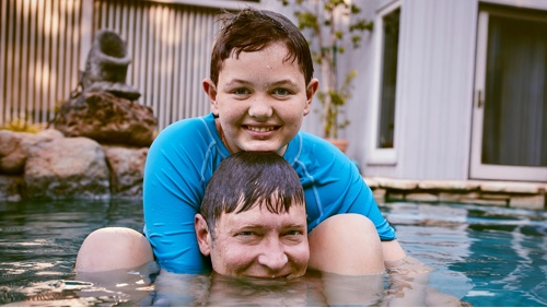 Boy and Father in Pool Video Thumbnail